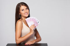 Woman with euro money Stock Photos