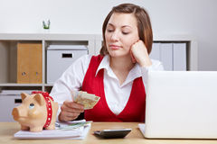 Woman with Euro money and piggy stock photo