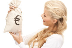Woman with euro signed bag Stock Photos