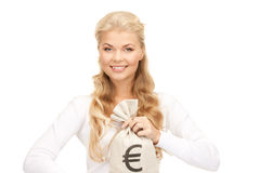 Woman with euro signed bag Stock Image