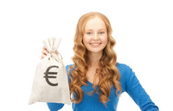 Woman with euro signed bag Stock Images