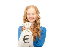 Woman with euro signed bag Stock Photo