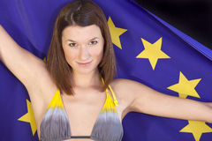 Woman with european flag Royalty Free Stock Photography