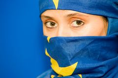Woman in European Union flag Stock Photo