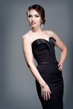 Woman in evening dress. With bright makeup Royalty Free Stock Photos