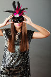Woman evening dress and carnival mask Royalty Free Stock Photos