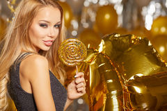 Woman in evening dress with champagne glasses - new year Royalty Free Stock Photo