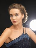 Woman in evening dress. Close up of beautiful woman in evening dress Stock Image