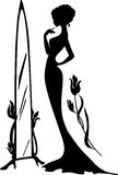Woman in an evening dress vector. Illustration. Elegant lady stand near mirror with flowers. Beautiful silhouette. Isabelle series Stock Photos