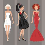 Woman in evening dress. Vector illustration Royalty Free Stock Images