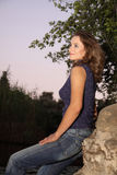 Woman at evening park. Nice woman at evening park stock images