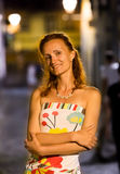 Woman in the evening street Royalty Free Stock Image
