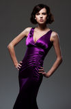 Woman in evening violet dress Stock Images