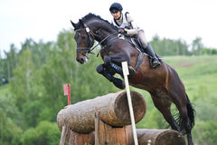 Woman eventer on horse is overcomes the Log fence Stock Photo