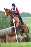 Woman eventer on horse is overcomes the Log fence Royalty Free Stock Photos