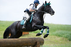 Woman eventer on horse jumping overcomes the Log f Stock Images