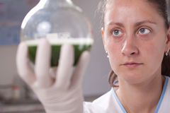 Woman examine colorful bottles fill with chemicals Stock Photos