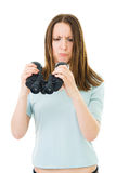 Woman examine how binocular work Stock Photo