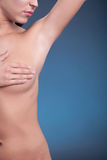 Woman examining breast mastopathy or cancer Royalty Free Stock Photo