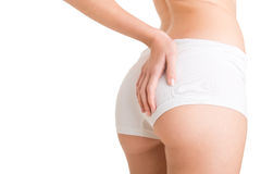 Woman Examining Her Buttocks for Cellulite Stock Photos