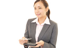 The woman exchanges the business cards Royalty Free Stock Photos