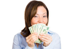 Woman excited about her earnings Stock Photos