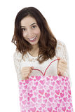 Woman excited about her gift stock photo
