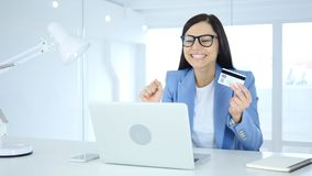Woman Excited for Online Shopping, Payment by Credit Card. 4k , high quality Royalty Free Stock Images