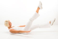Woman exercise abdomen muscle white fitness Stock Photo