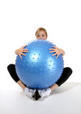 Woman and Exercise Ball Stock Images