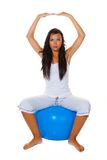 Woman with exercise ball Royalty Free Stock Images