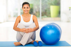 Woman exercise ball Stock Photos