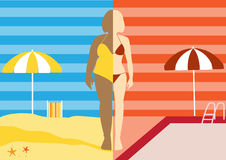 Before and after of woman exercise changes in swimsuit on summer ,Vector illustrations Royalty Free Stock Image