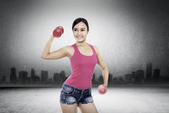 Woman Exercise With Dumbell Royalty Free Stock Photo