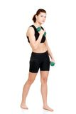 Woman exercise with free weights Stock Photo