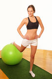 Woman exercise gym ball Royalty Free Stock Photo