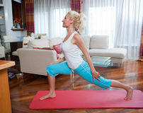 Woman exercise in her home Royalty Free Stock Photography