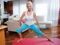 Woman exercise in her home Royalty Free Stock Image