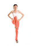 Woman exercise one leg up Stock Image