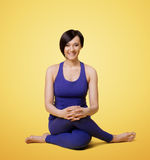 Woman exercise yoga arm balance and smile Royalty Free Stock Photography