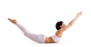 Woman exercise yoga pose isolated Stock Images