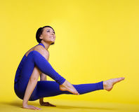Woman exercise yoga pose and smile Royalty Free Stock Photos