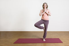 Woman exercises yoga Royalty Free Stock Photography