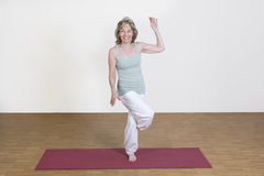 Woman exercises yoga Stock Photos