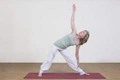 Woman exercises yoga Stock Image