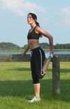 Woman exercising. Outdoor Royalty Free Stock Photo