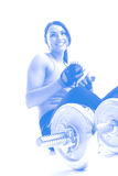 Woman exercising. Sport muscle woman exercising gym Stock Images