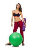Woman exercising with ball isolated Stock Photography
