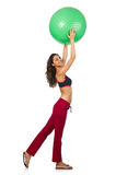 Woman exercising with ball isolated Stock Photos