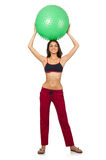 Woman exercising with ball isolated Stock Photo